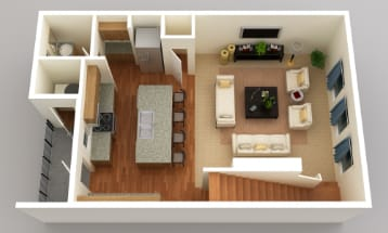 Open living and kitchen area, Floor 2