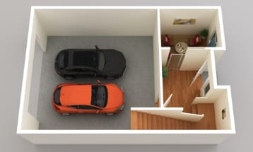 Two car garage on the main floor