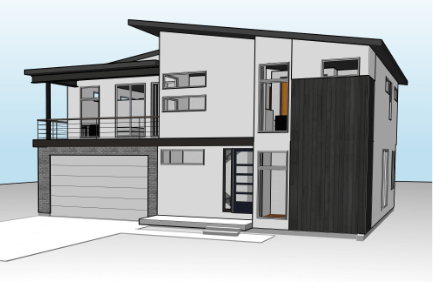 Bristol Rendering with asymetrical roof