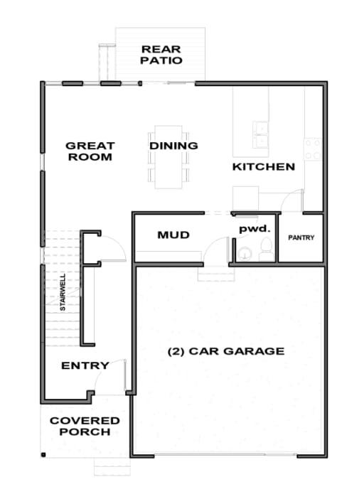 Essex Floor plan main floor, by Next Level Homes