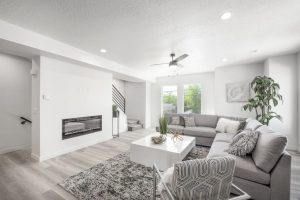 Granite Lofts family room with electric fireplace